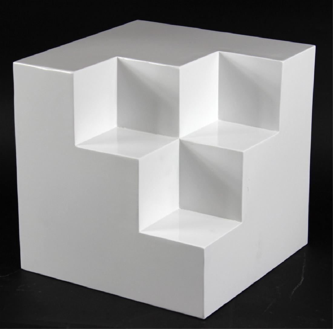 After Sol Lewitt Modern Cube Form Sculpture.