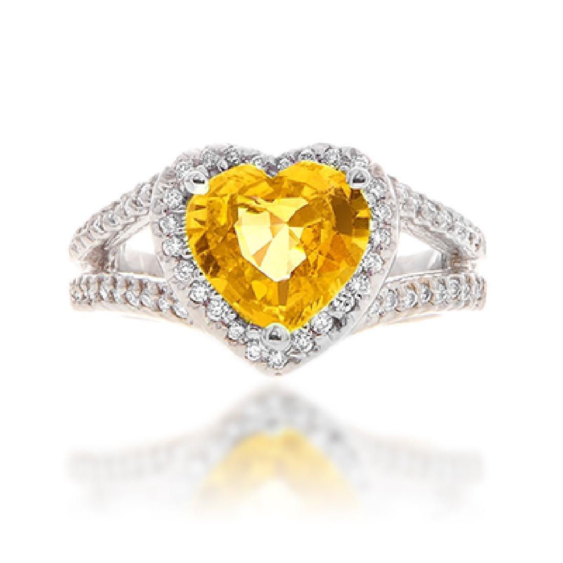 Yellow Sapphire & Diamond Ring