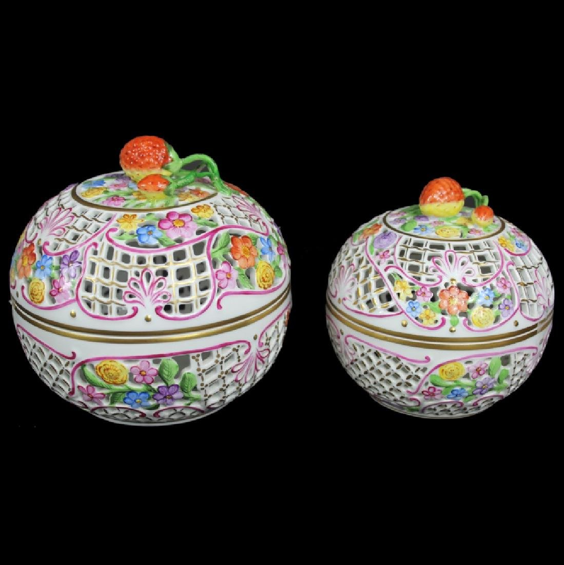 (2) Two Herend Bon Bon Covered Dishes