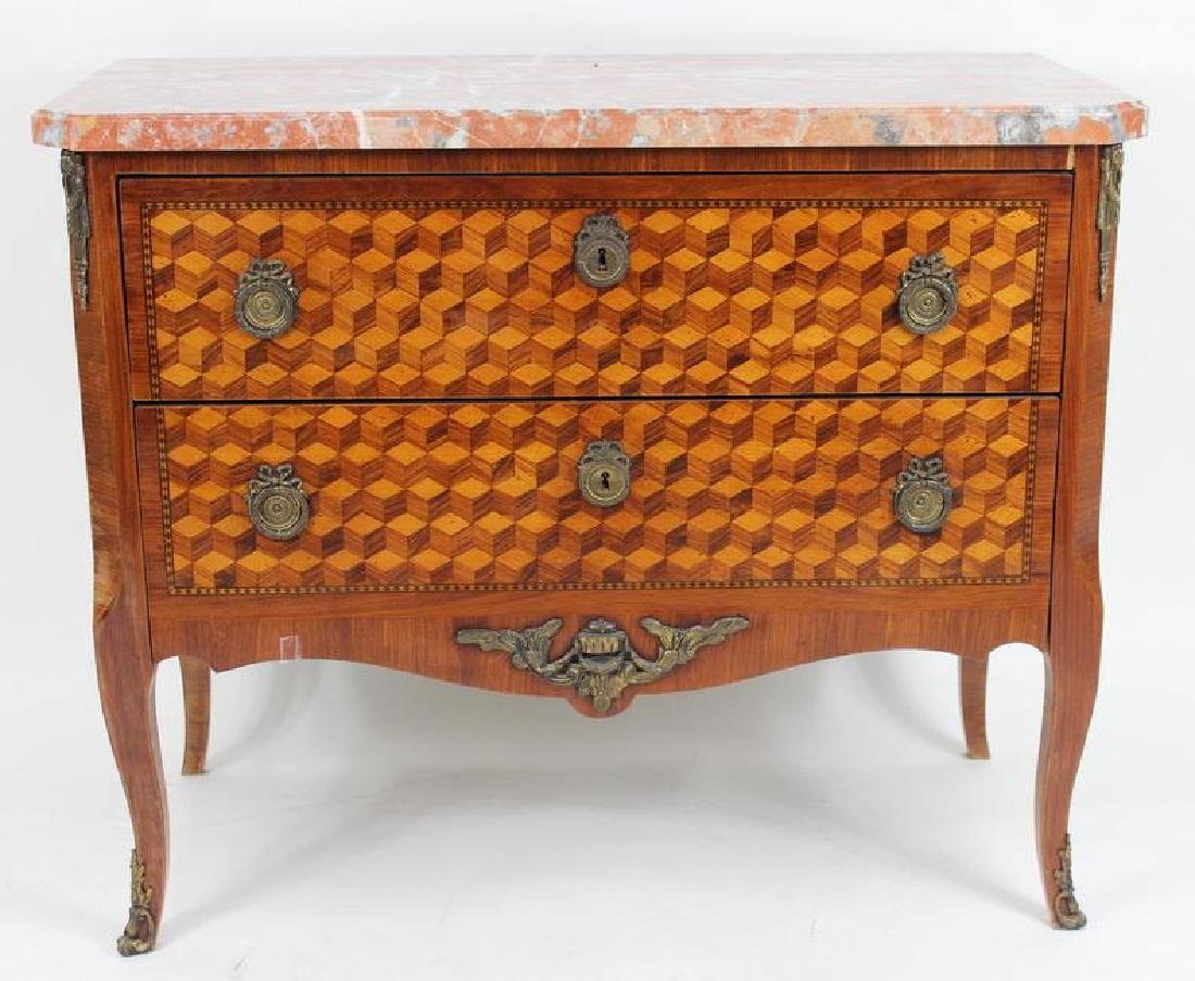French Marquetry Inlaid Commode, Louis XV Style