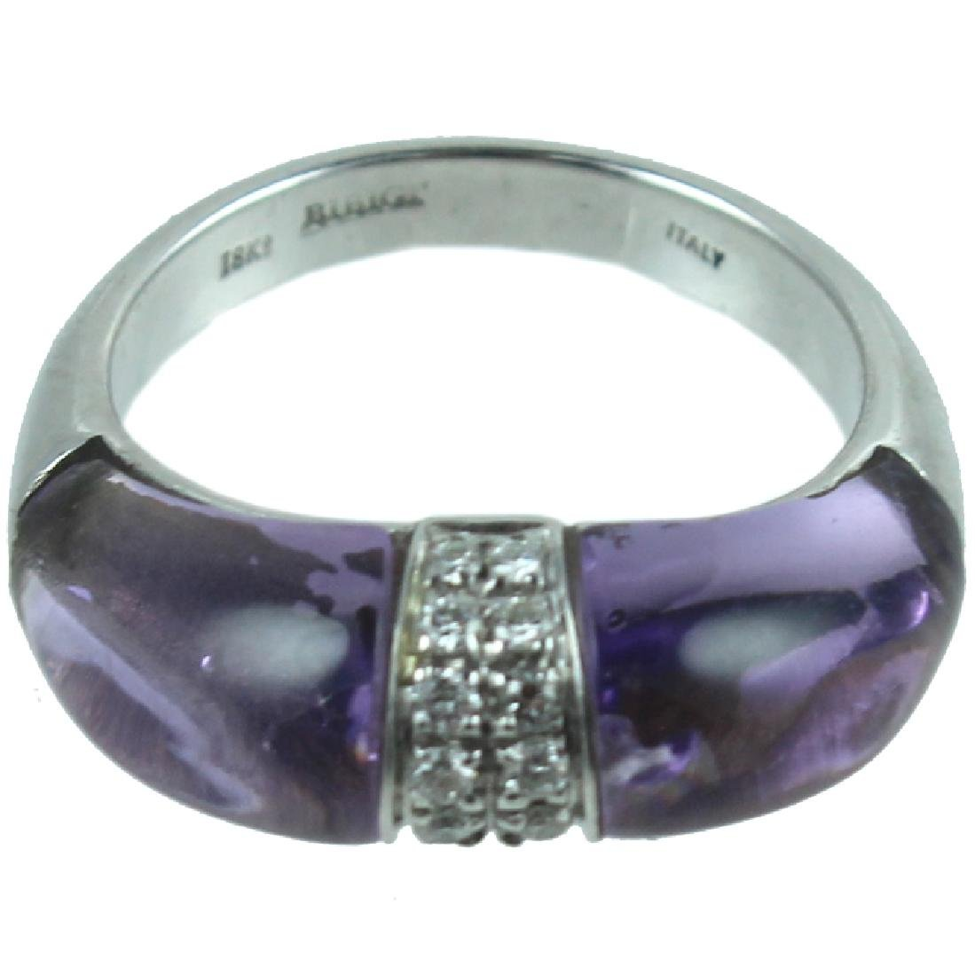 18K White Gold Amethyst & Diamond Ring