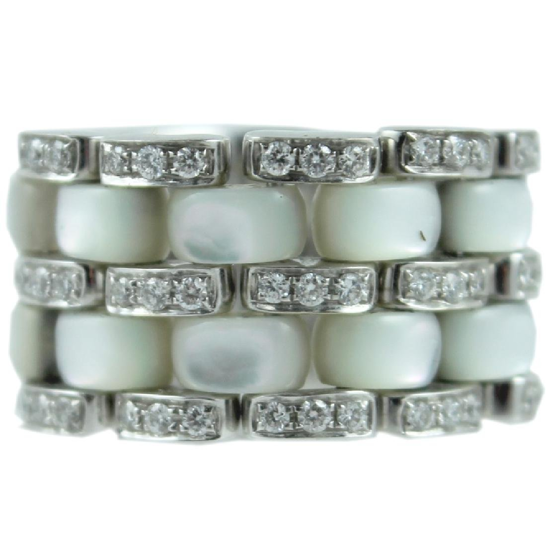 18K 'WG' Flexible M.O.P. & Diamond Ring