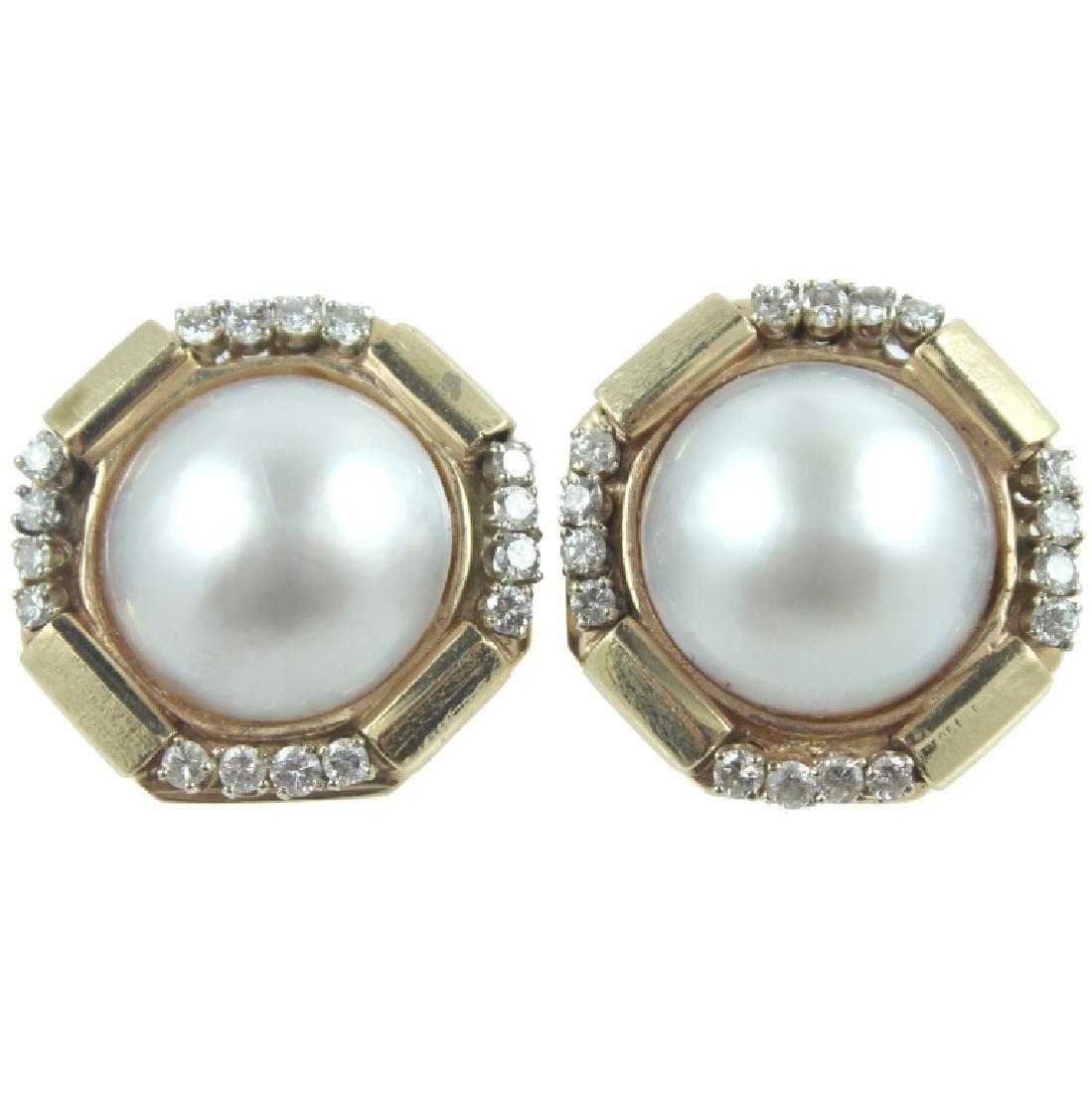 14K Yellow Gold Mobe Pearl Earrings, 12.4 dwt