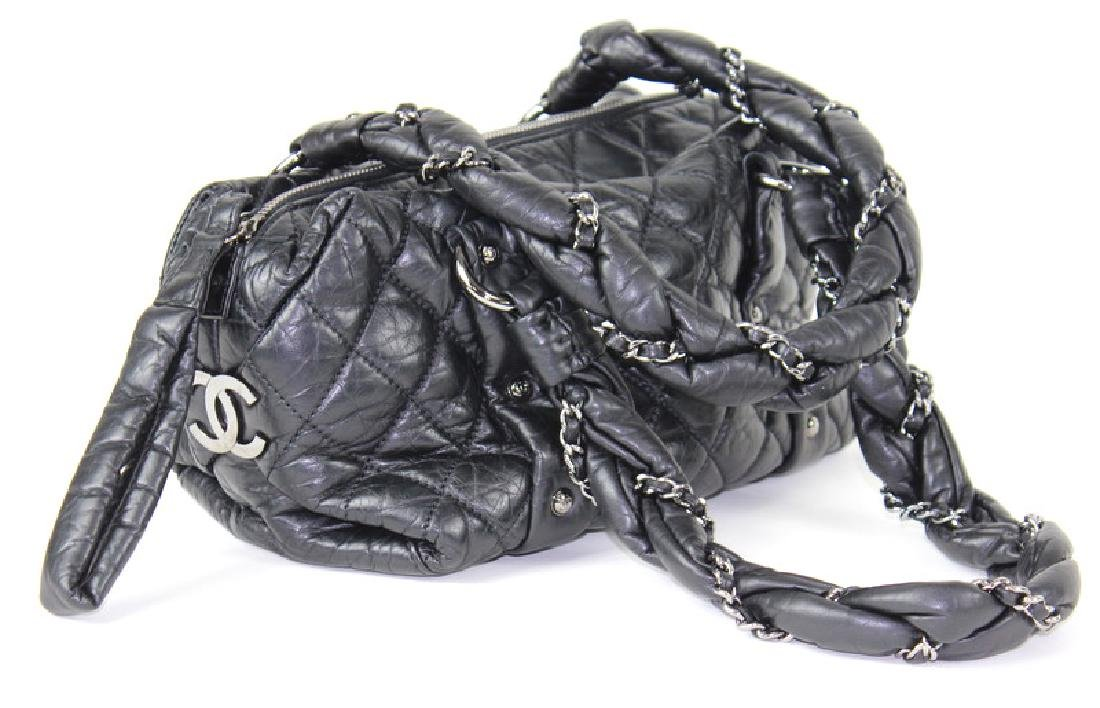 Vintage Chanel Leather Handbag. Chrome Hardware. - 2