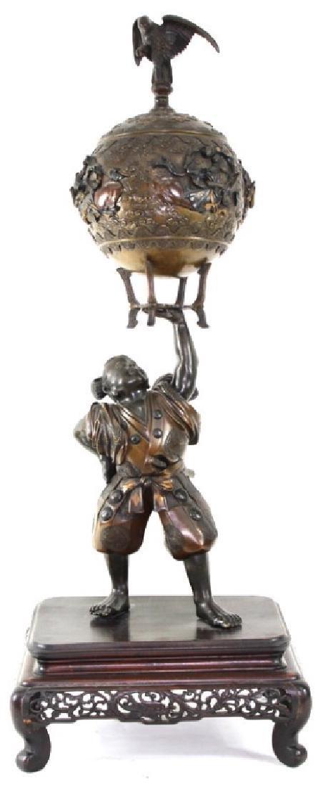 Monumental Japanese Meiji Figural Bronze