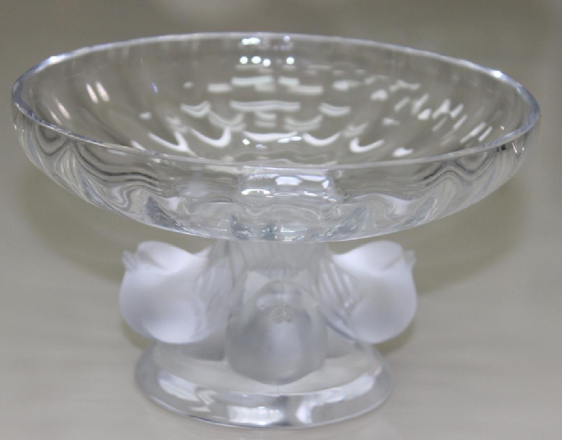Lalique French Art Glass Three bird Vase.