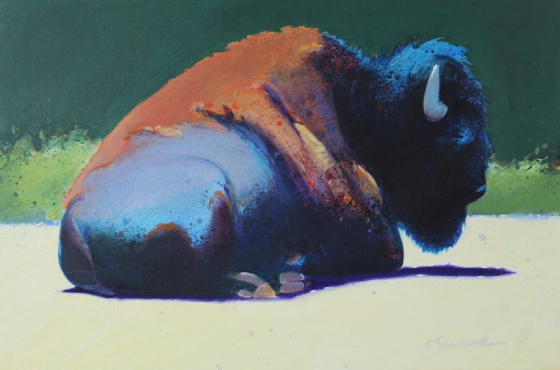 """Robert Seabeck """"Buffalo At Rest"""" Oil Painting"""