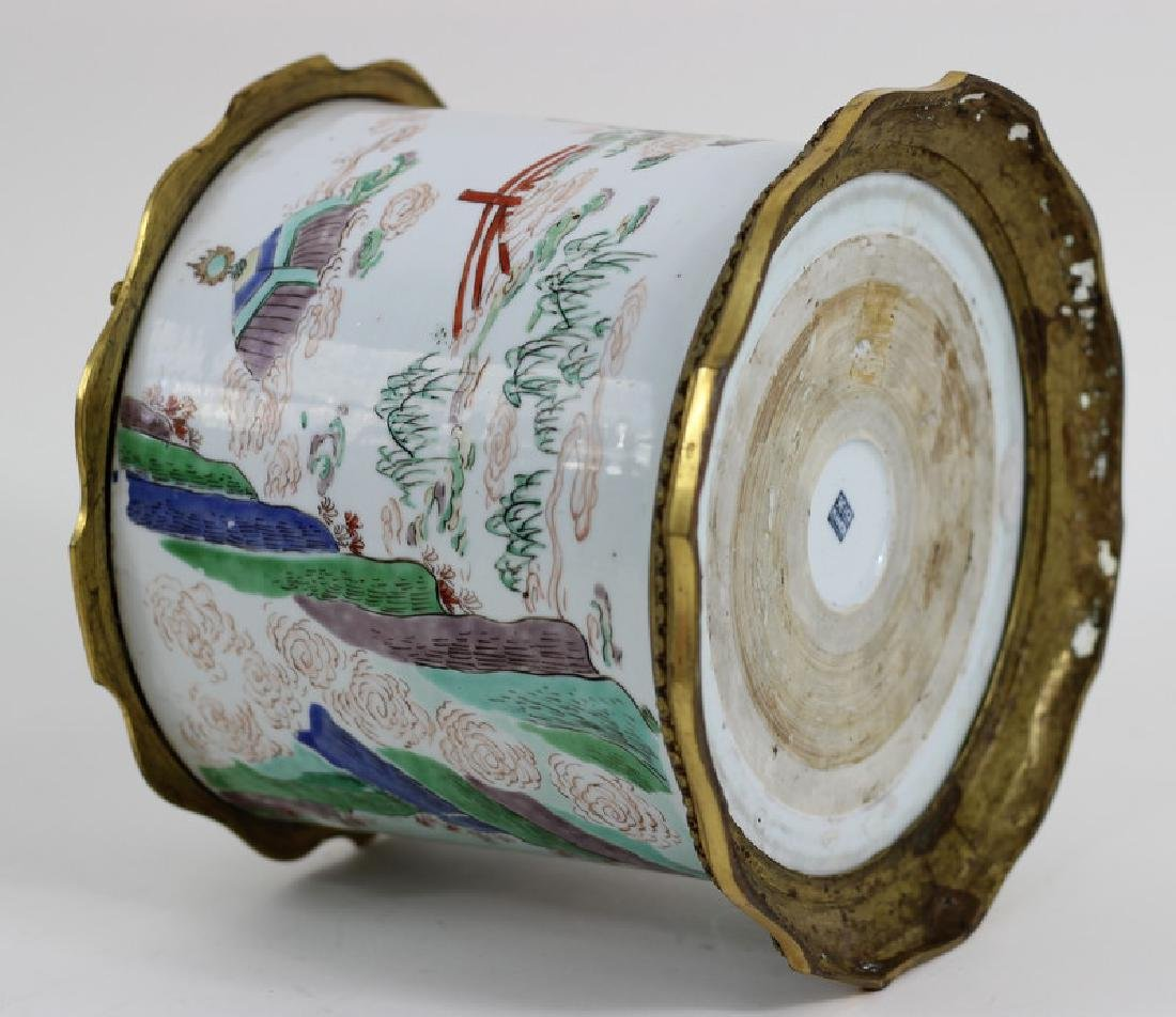 Chinese Famille Verte Porcelain Brush Pot - 10