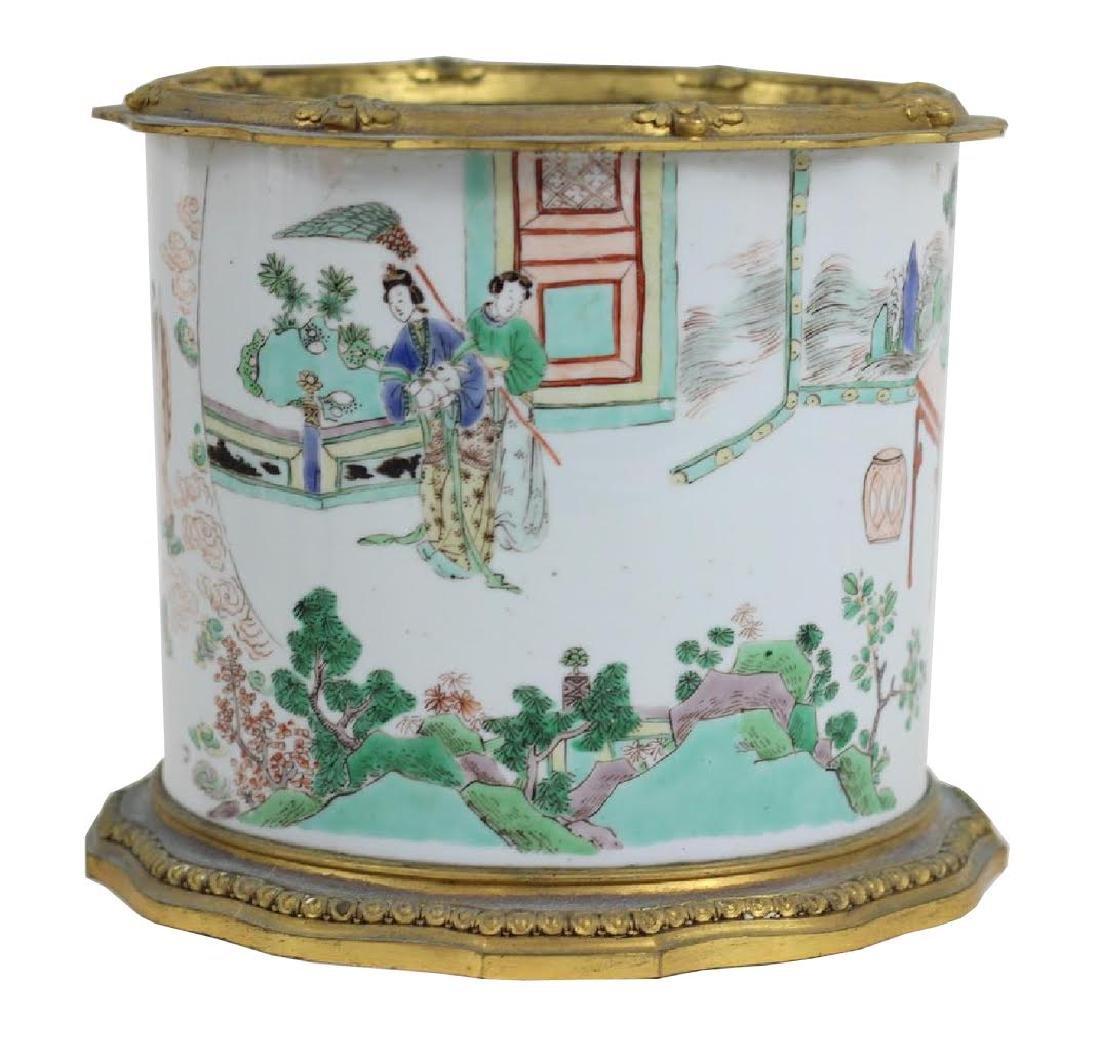 Chinese Famille Verte Porcelain Brush Pot