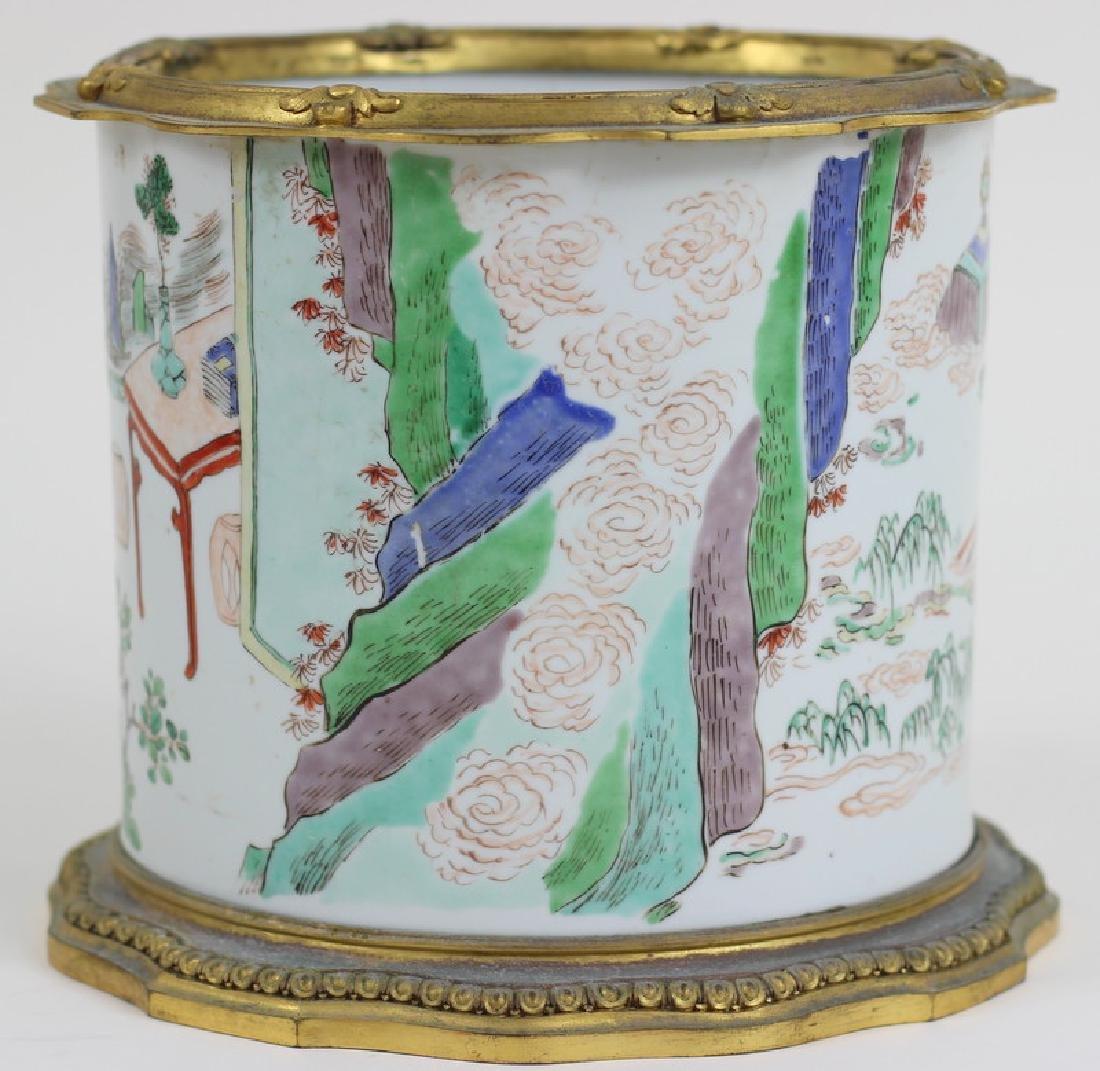 Chinese Famille Verte Porcelain Brush Pot - 4
