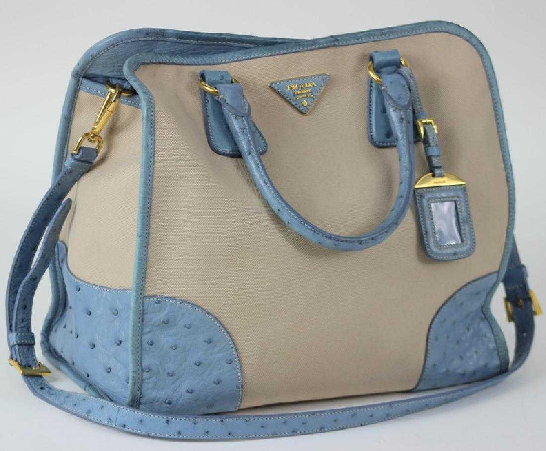 1de461258642 Prada Canapa Struzzo Ostrich Canvas Tote Bag