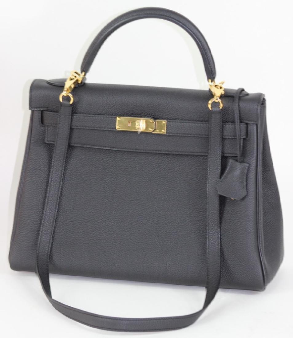 2017 Hermes Kelly 32 Black Togo Leather Handbag