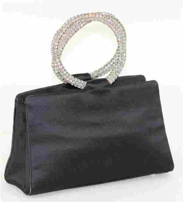 Judith Leiber Black Satin Swarovski Evening Bag
