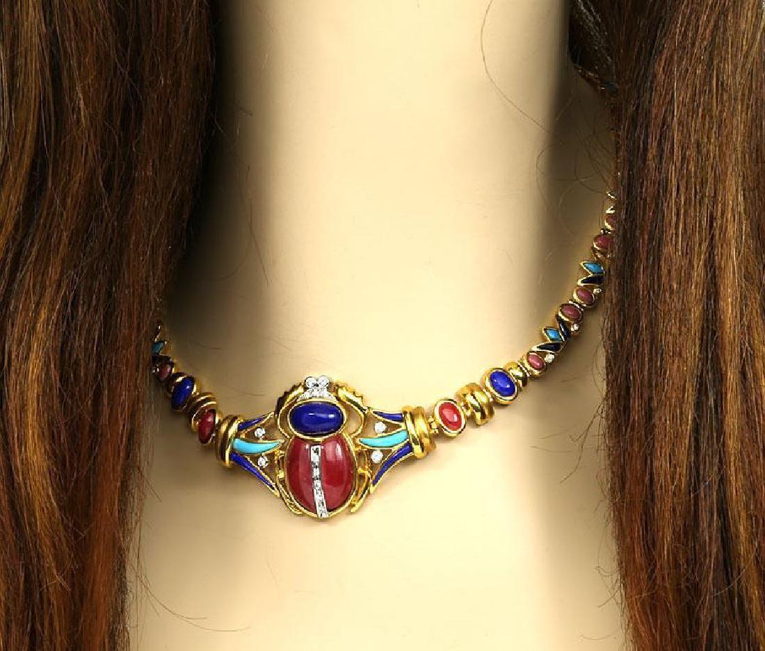 Gemstones18k Gold Egyptian Scarab Design Necklace