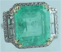 Platinum 18K Gold Colombian Emerald Diamond Ring