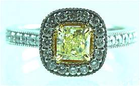 Natural Fancy Yellow 18K White Gold Diamond Ring