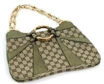 Gucci Monogram Canvas Metallic Bamboo Handbag