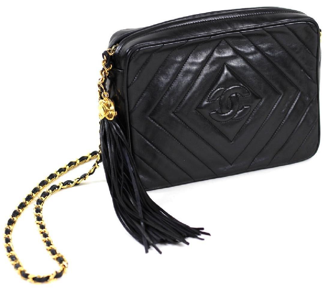 Vintage Chanel Black & Gold Lambskin Leather