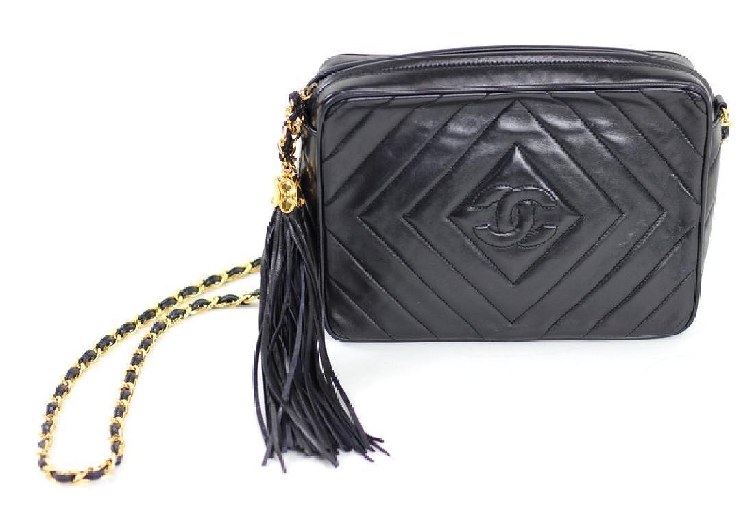 Vintage Chanel Black & Gold Lambskin Leather - 2