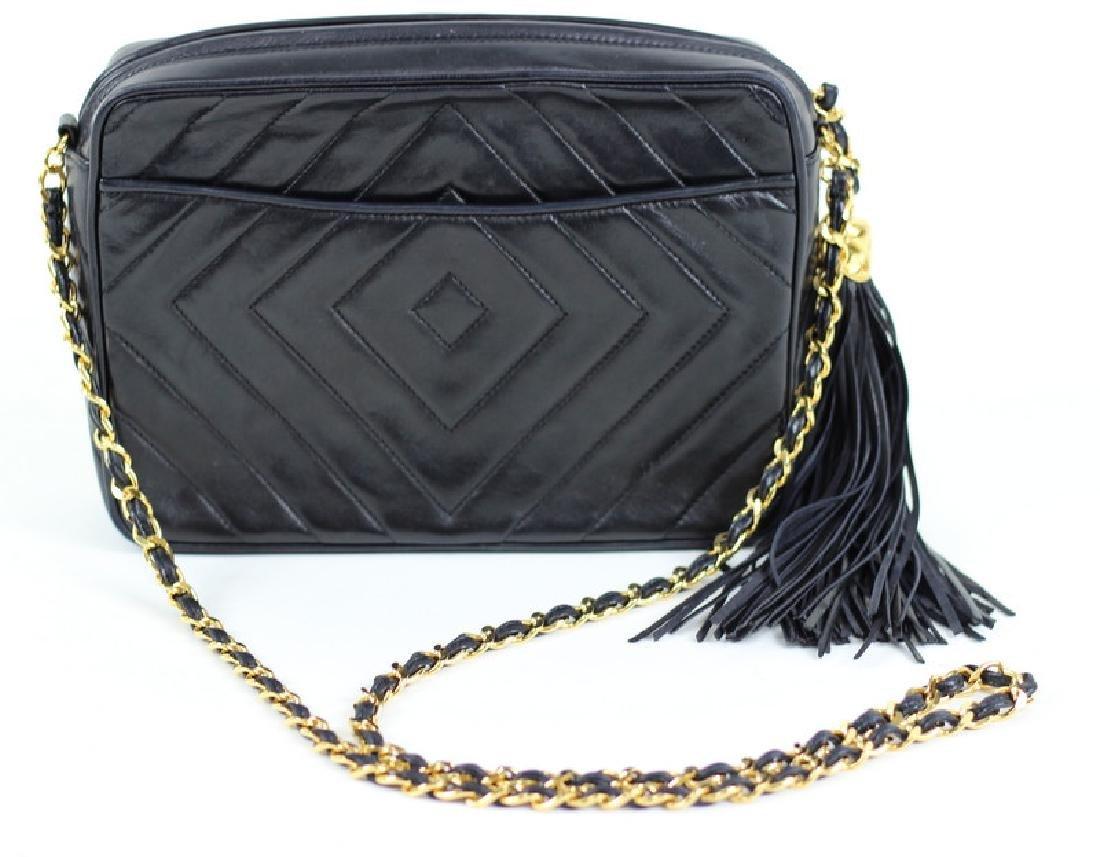 Vintage Chanel Black & Gold Lambskin Leather - 3