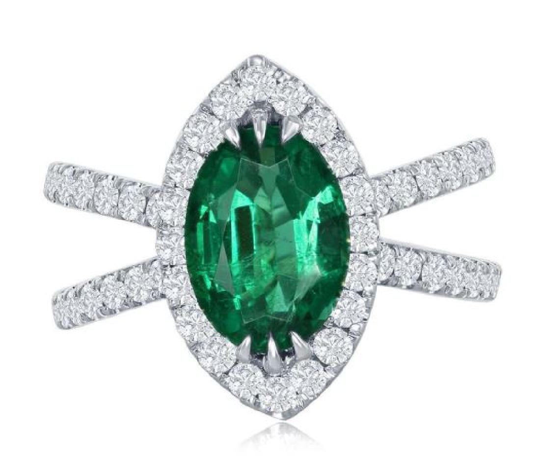 18K GOLD EMERALD AND DIAMOND RING