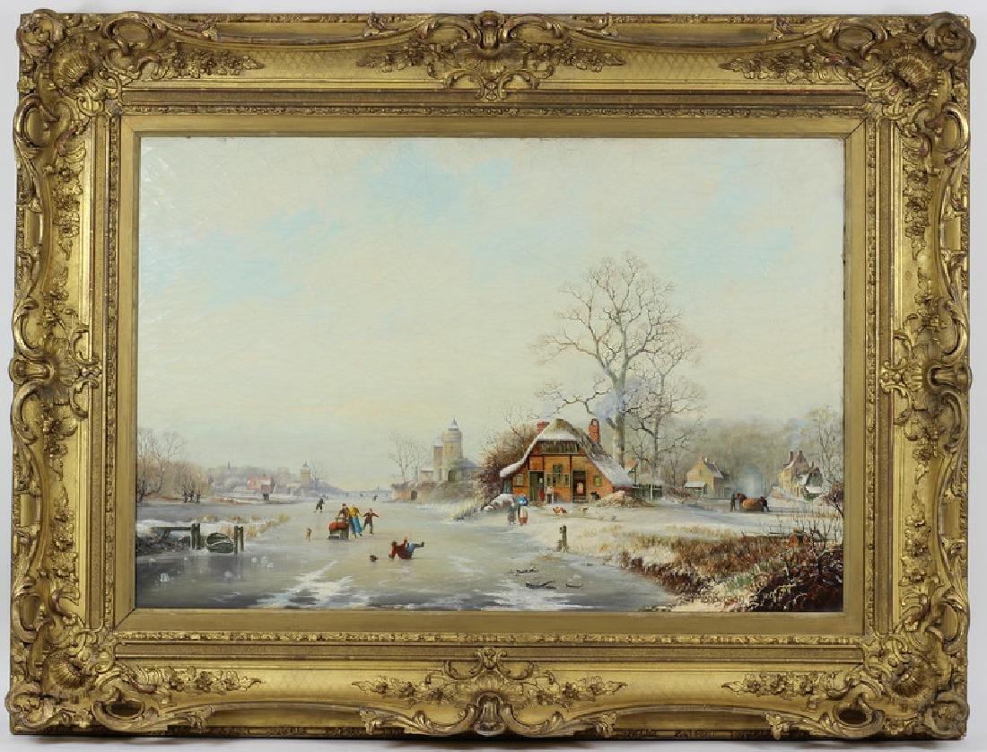 Antique 19th Century Winter Scene Oil Painting