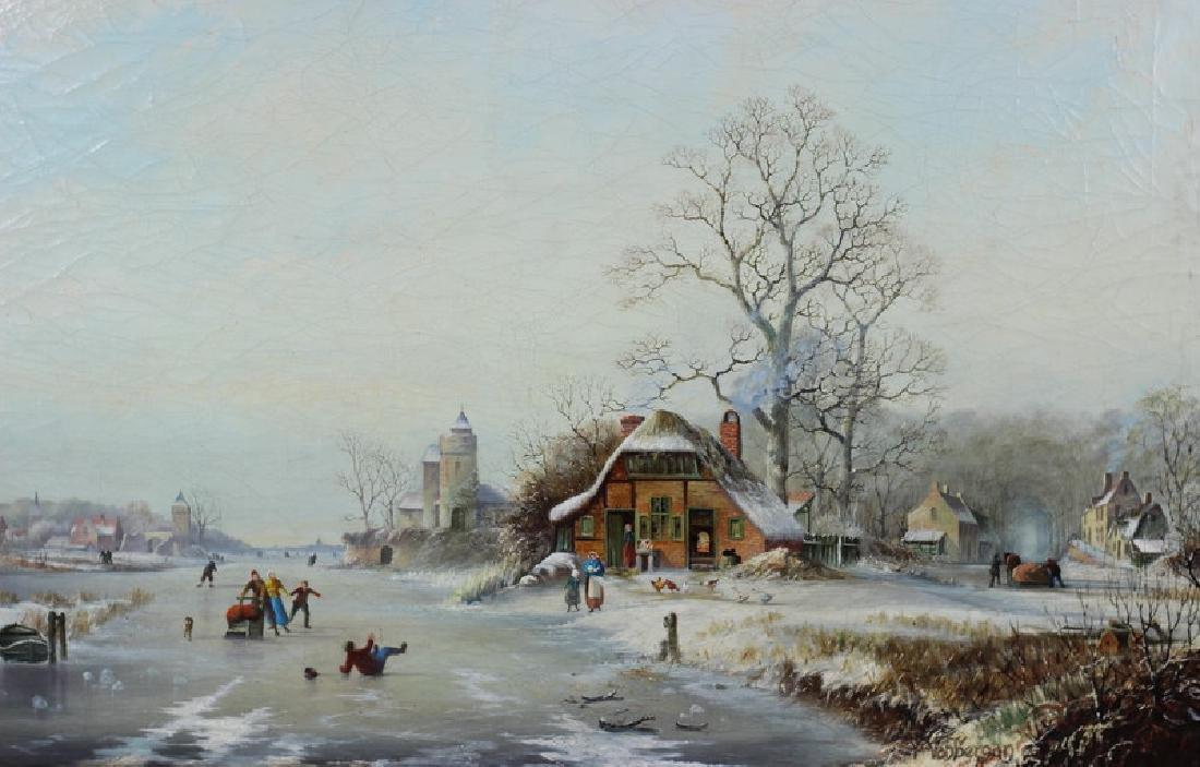 Antique 19th Century Winter Scene Oil Painting - 2