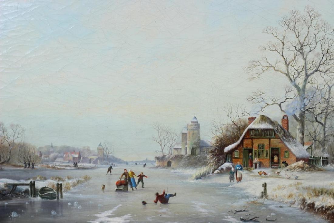 Antique 19th Century Winter Scene Oil Painting - 3