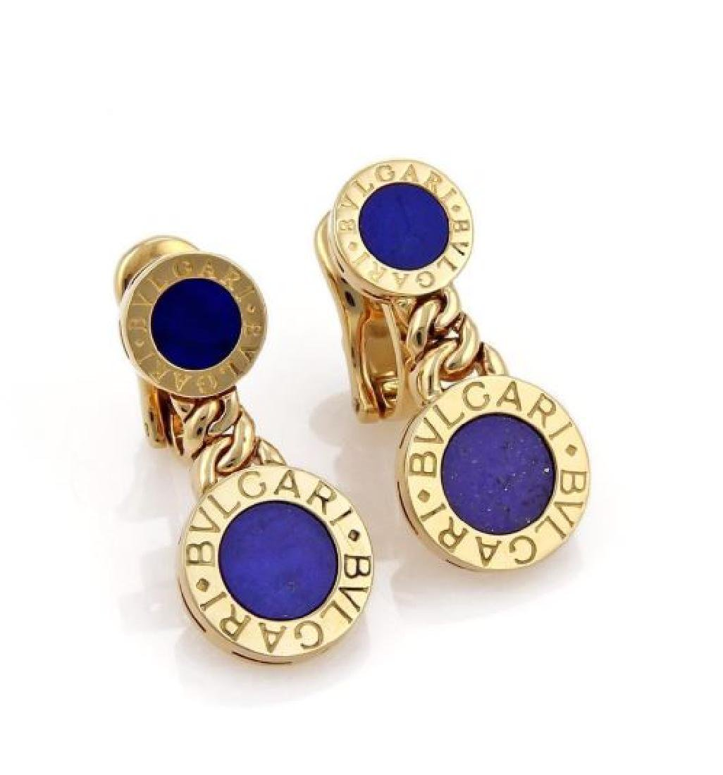 Bvlgari Lapis 18k Gold Circle Post Clip Earrings