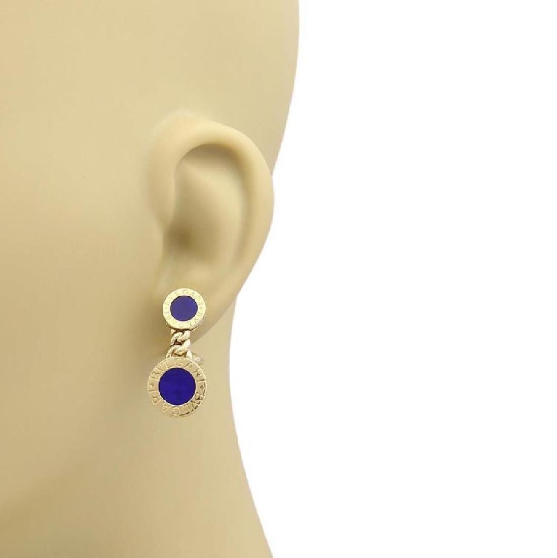 Bvlgari Lapis 18k Gold Circle Post Clip Earrings - 2