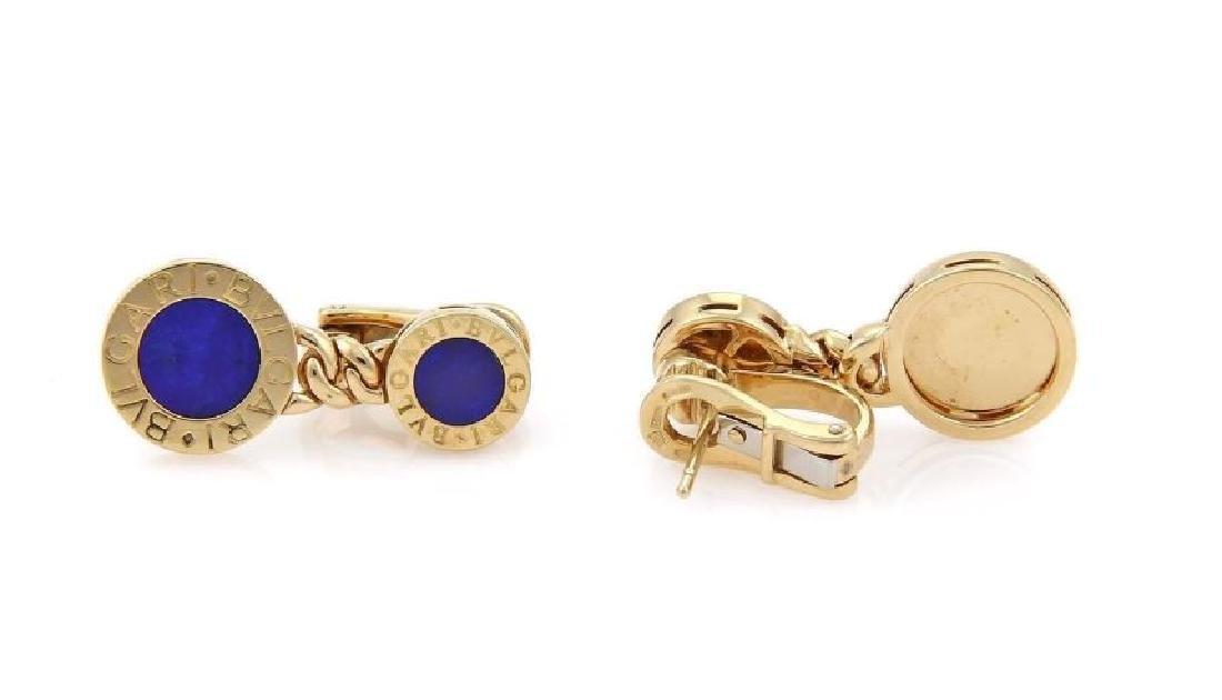 Bvlgari Lapis 18k Gold Circle Post Clip Earrings - 3
