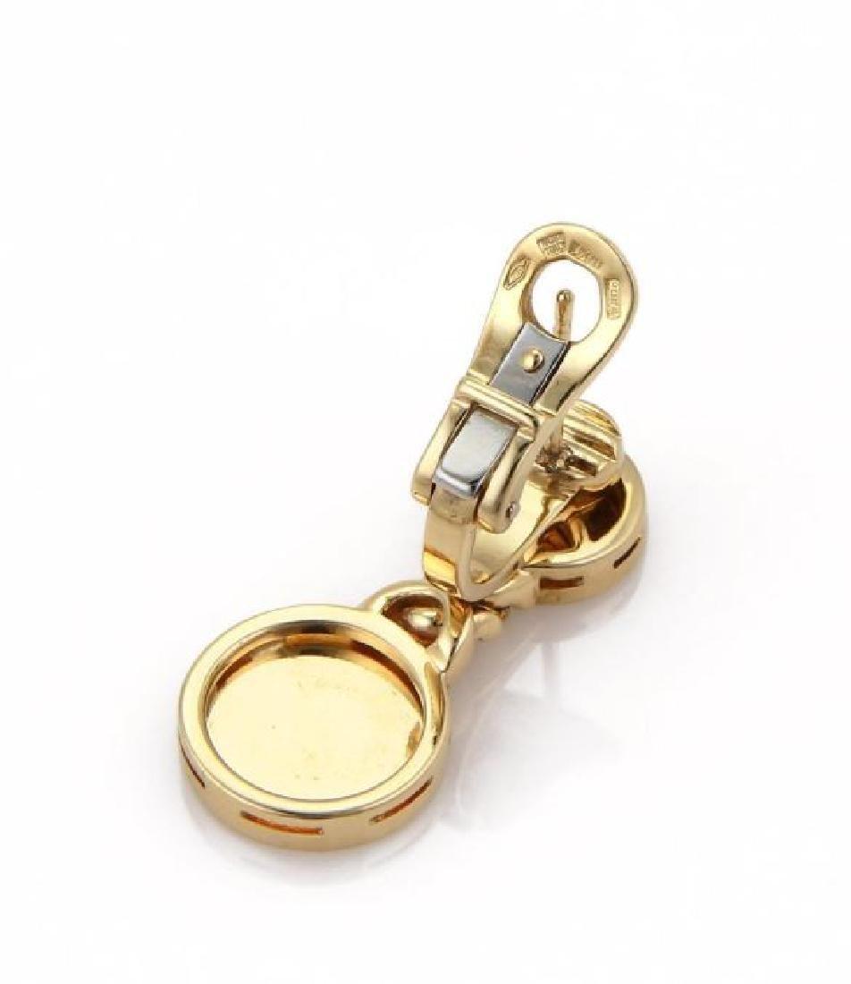 Bvlgari Lapis 18k Gold Circle Post Clip Earrings - 4