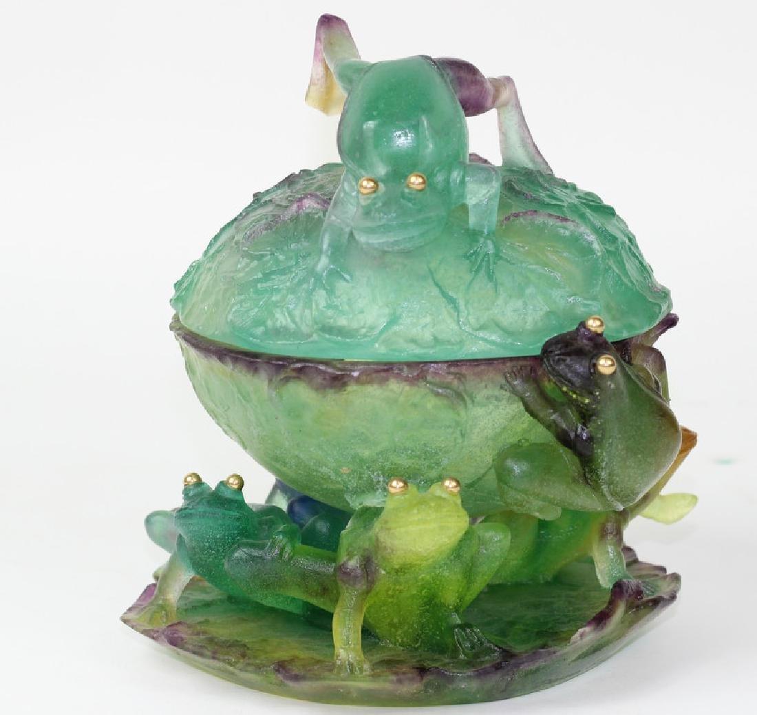 Daum France Pate de Verre Glass Covered Frog Bowl