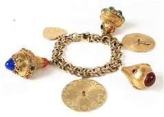 Chunky 14K Gold Gemstone Link Charm Bracelet