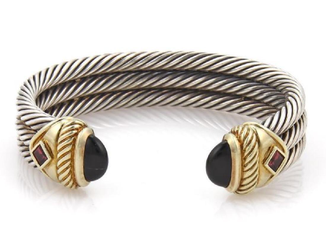 David Yurman Onyx Amethyst Silver 14k Gold Bracelet