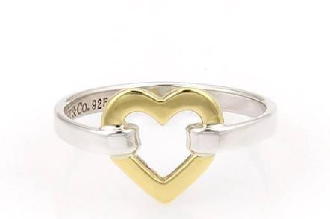 Tiffany & Co. Sterling Silver 18k Gold Heart Ring