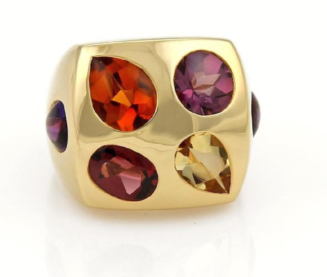 Chanel Multi-Color Gemstone 18k Gold Square Ring