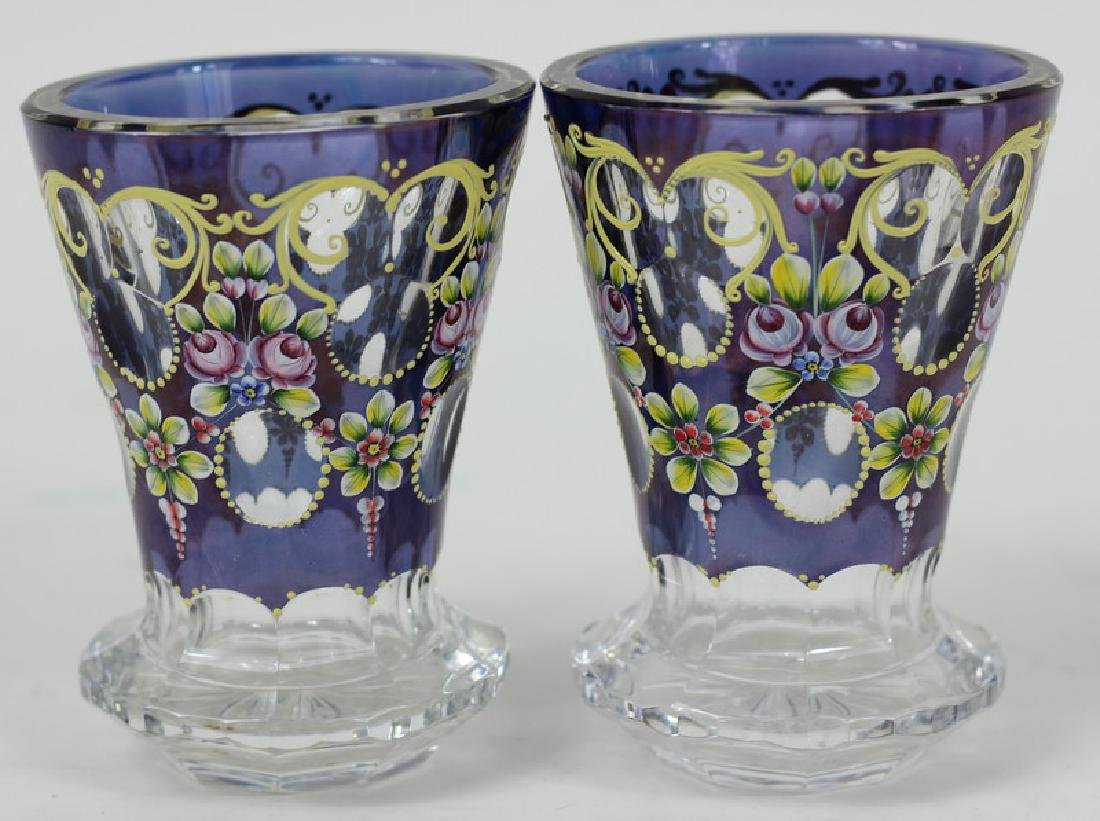 Pair of Bohemia Hand Painted Czech Glass Bud Vases