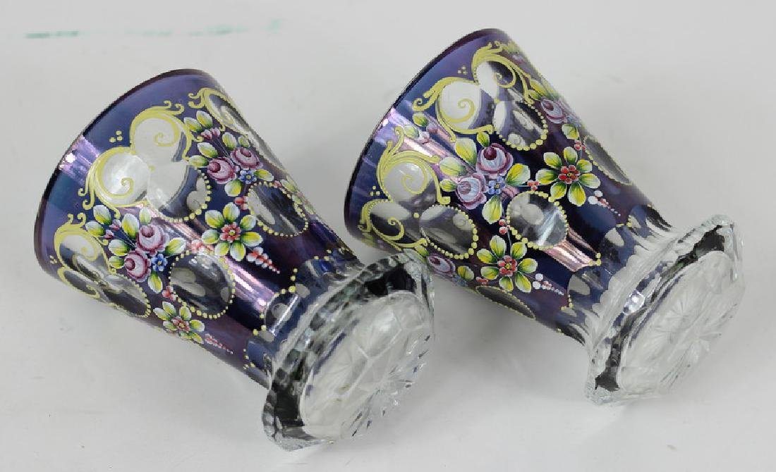 Pair of Bohemia Hand Painted Czech Glass Bud Vases - 3