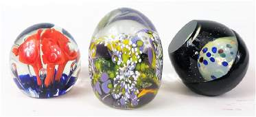Three Contemporary Art Glass Paperweights