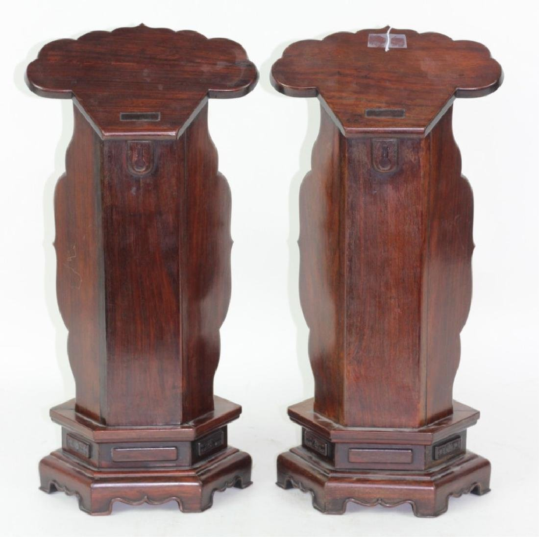 Pair of Carved Chinese Rosewood Stands. - 5