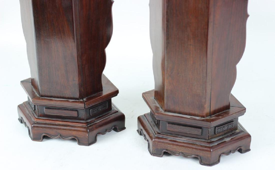 Pair of Carved Chinese Rosewood Stands. - 6