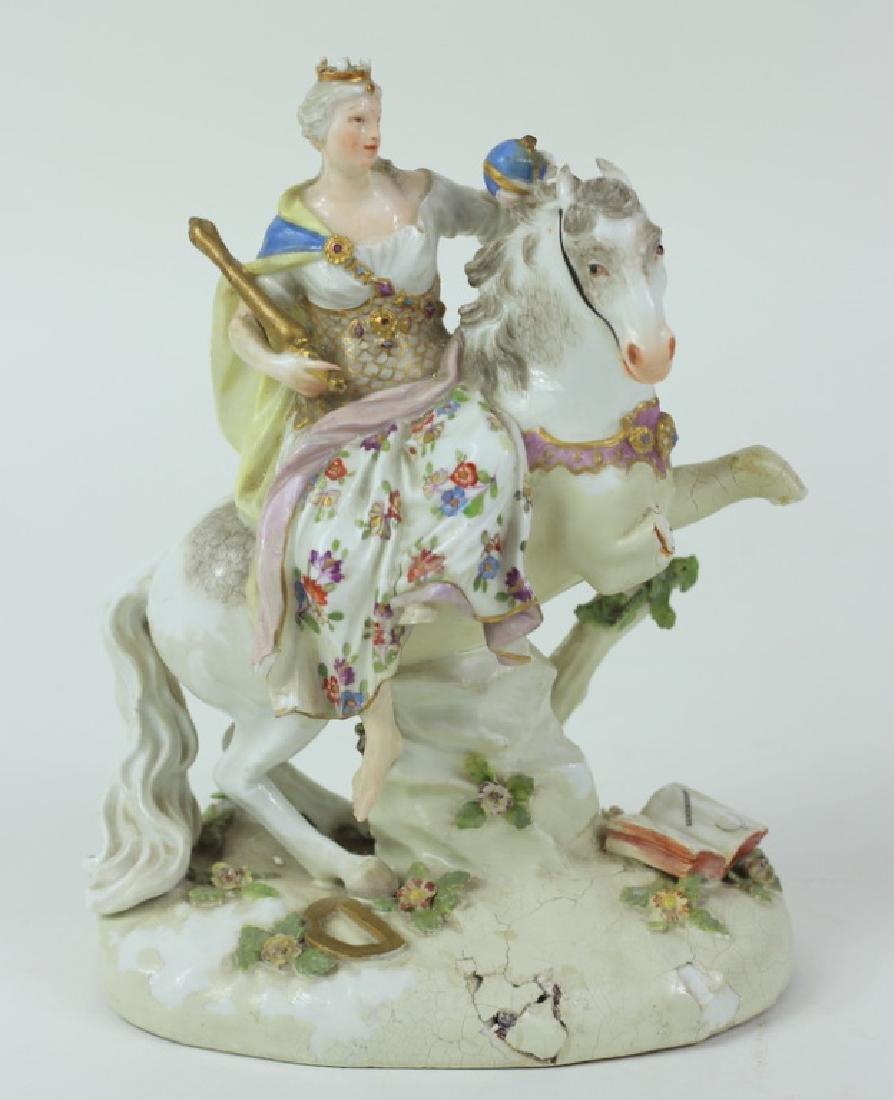 Antique Meissen Equestrian Group.