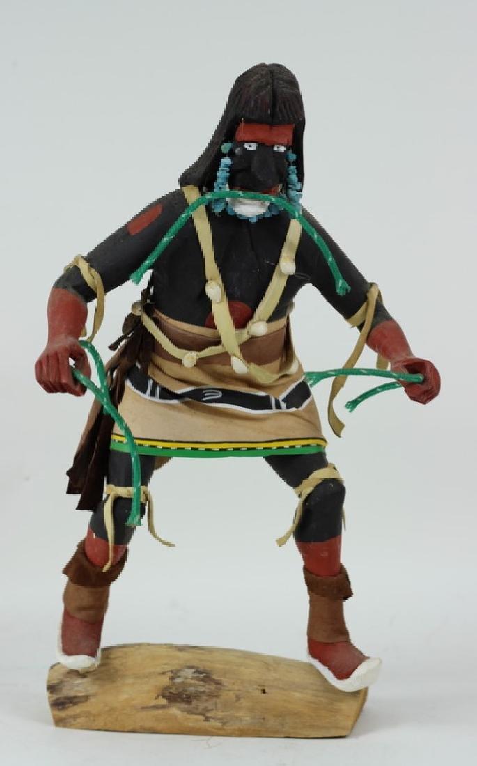 20th C H/P Carved Wooden Hopi Kachina Warrior Doll