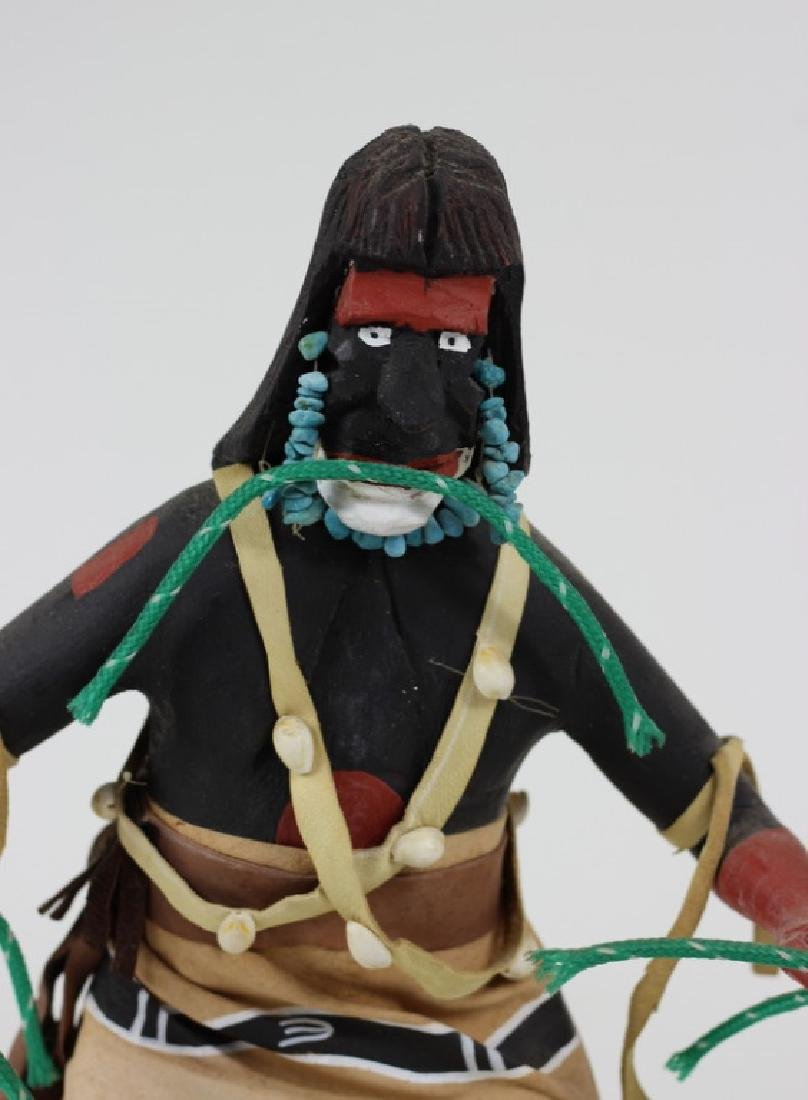 20th C H/P Carved Wooden Hopi Kachina Warrior Doll - 2