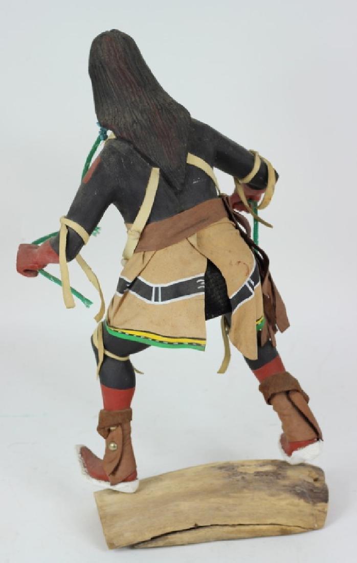 20th C H/P Carved Wooden Hopi Kachina Warrior Doll - 3