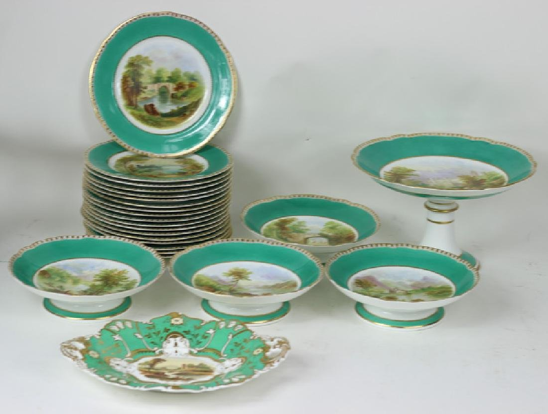 24pc English Hand Painted Porcelain China Dishes