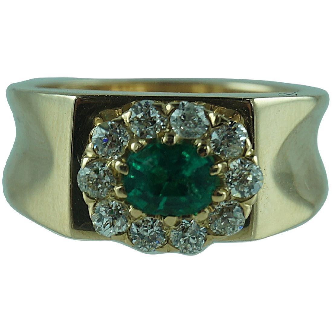 Cute 14 Karat Yellow Gold Emerald & Diamond Ring.