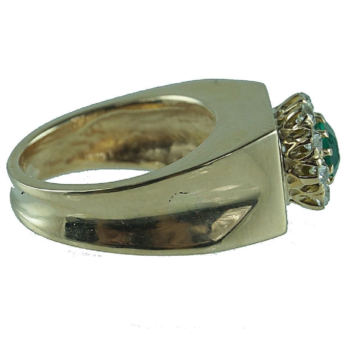Cute 14 Karat Yellow Gold Emerald & Diamond Ring. - 2