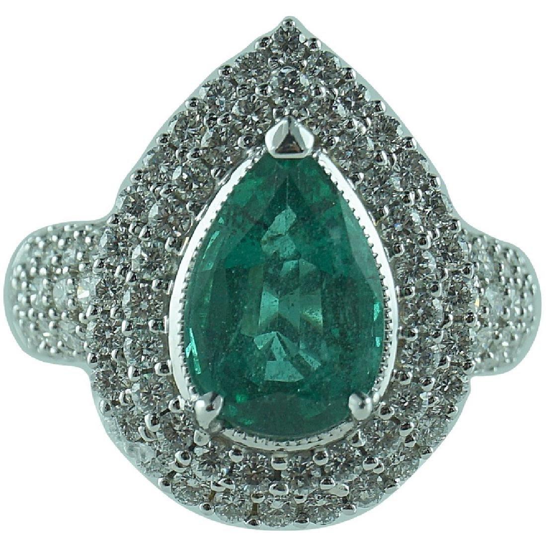 18 Karat WG 2.72 Carat Emerald 1.47 TCW Diamond